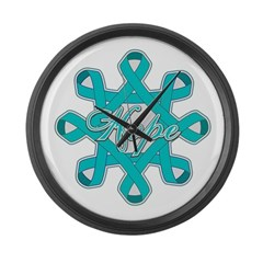 Ovarian Cancer Ribbons Large Wall Clock