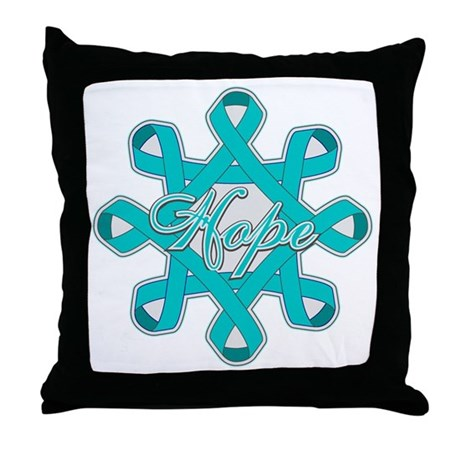 Ovarian Cancer Ribbons Throw Pillow