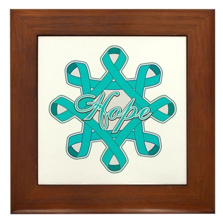 Ovarian Cancer Ribbons Framed Tile