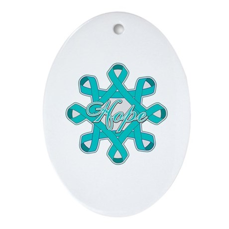 Ovarian Cancer Ribbons Ornament (Oval)