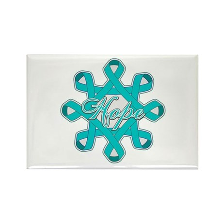 Ovarian Cancer Ribbons Rectangle Magnet