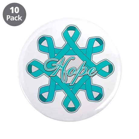 "Ovarian Cancer Ribbons 3.5"" Button (10 pack)"