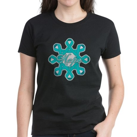 Ovarian Cancer Ribbons Women's Dark T-Shirt