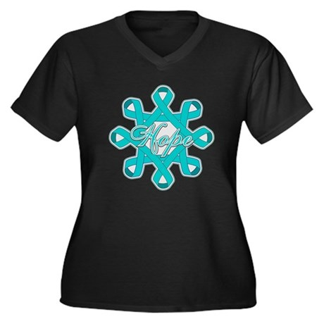 Ovarian Cancer Ribbons Women's Plus Size V-Neck Da