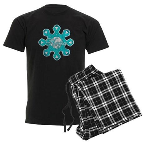 Ovarian Cancer Ribbons Men's Dark Pajamas