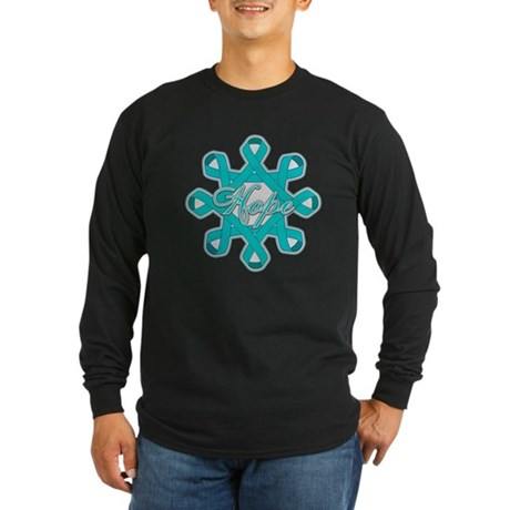 Ovarian Cancer Ribbons Long Sleeve Dark T-Shirt