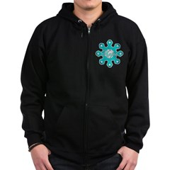 Ovarian Cancer Ribbons Zip Hoodie (dark)