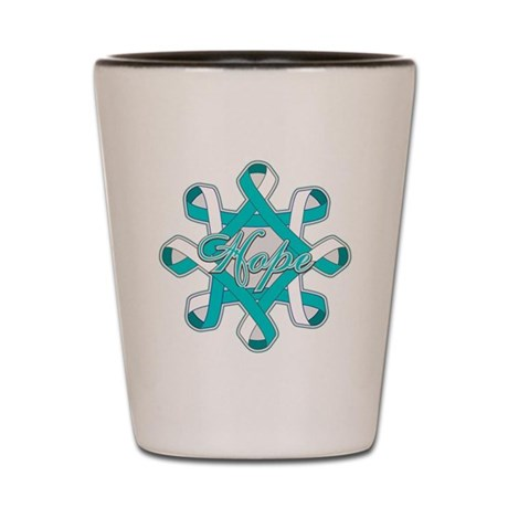Cervical Cancer Ribbons Shot Glass