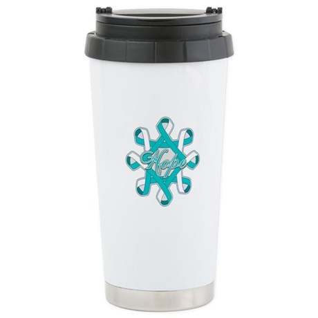 Cervical Cancer Ribbons Ceramic Travel Mug