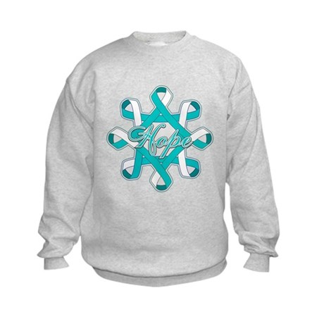 Cervical Cancer Ribbons Kids Sweatshirt