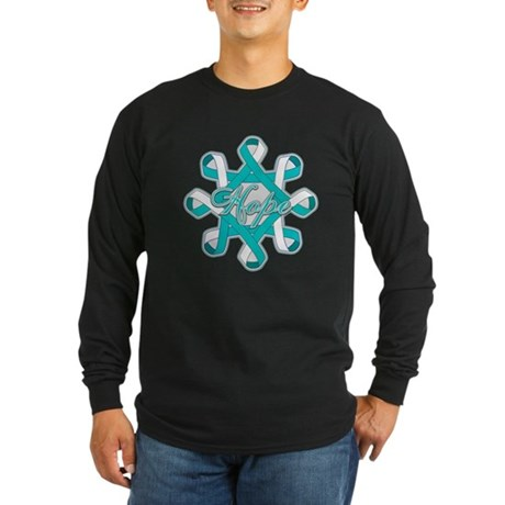 Cervical Cancer Ribbons Long Sleeve Dark T-Shirt