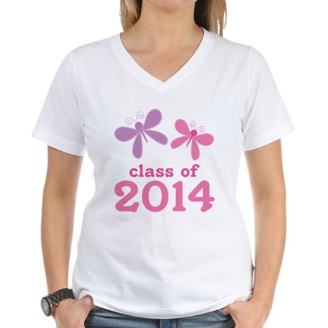 2014 Girls Graduation Women's V-Neck T-Shirt