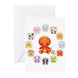 Cute Year of The dragon 2012 Greeting Cards (Pk of