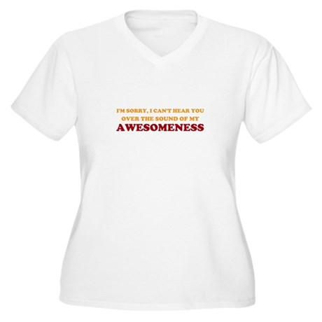 Sound of Awesomeness Womens Plus Size V-Neck T-Sh
