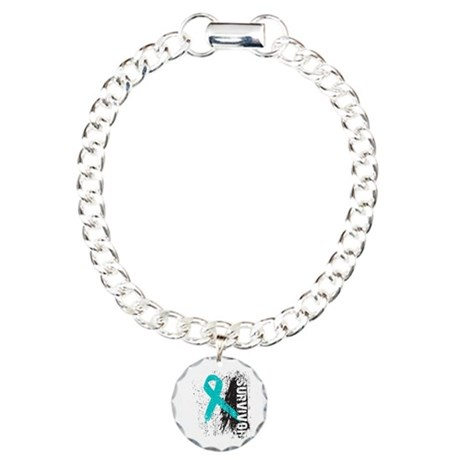 Survivor Ovarian Cancer Charm Bracelet, One Charm