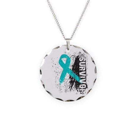 Survivor Ovarian Cancer Necklace Circle Charm