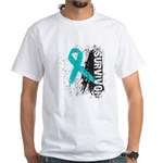Survivor Ovarian Cancer White T-Shirt