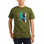 Survivor Ovarian Cancer Organic Men's T-Shirt (dar