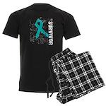 Survivor Ovarian Cancer Men's Dark Pajamas