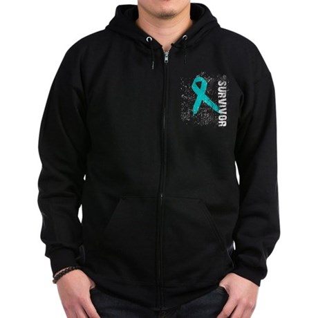 Survivor Ovarian Cancer Zip Hoodie (dark)