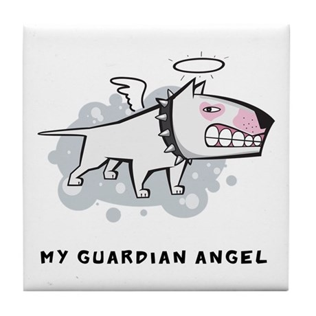 Angel Bull Terrier Tile Coaster