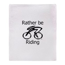 """Rather be Cycling"" Throw Blanket"