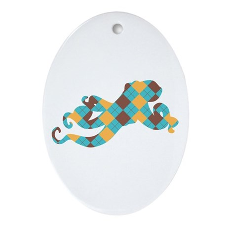Argyle Octopus Ornament (Oval)