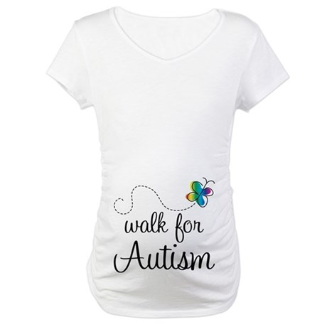 Butterfly Walk For Autism Maternity T-Shirt