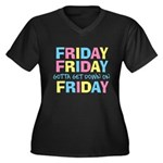 Friday Friday Women's Plus Size V-Neck Dark T-Shir