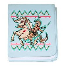 Indian Warrior on Horse baby blanket