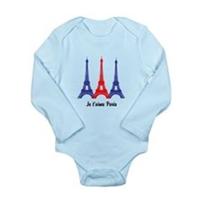 I Love Paris Long Sleeve Infant Bodysuit