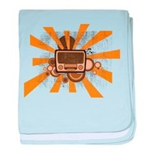 retro seventies analog radio baby blanket