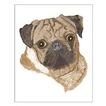 Pug Portrait Small Poster