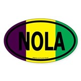 TriColor NOLA Euro/Black Oval Bumper Stickers