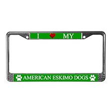 Green I Love My American Eskimo Dogs Frame