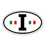 """I"" Italian Euro Flag 2 Oval Decal"