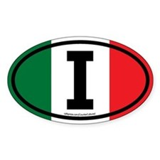 """I"" Italian Euro Flag 3 Oval Decal"