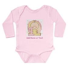 Custom Girl 1st Birthday Long Sleeve Infant Bodysu