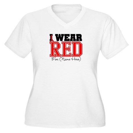 Custom I Wear Red Women's Plus Size V-Neck T-Shirt