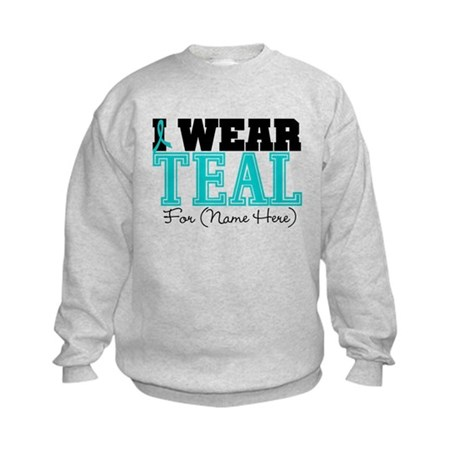 Custom Teal Ovarian Cancer Kids Sweatshirt