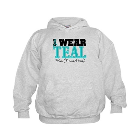 Custom Teal Ovarian Cancer Kids Hoodie