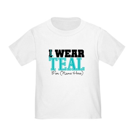 Custom Teal Ovarian Cancer Toddler T-Shirt