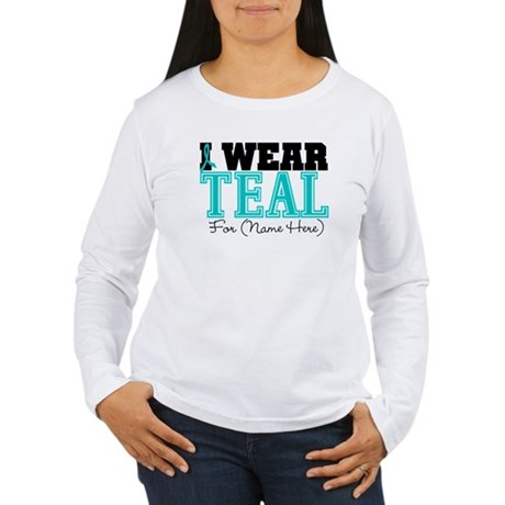 Custom Teal Ovarian Cancer Women's Long Sleeve T-S
