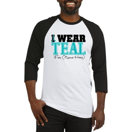 Custom Teal Ovarian Cancer Baseball Jersey
