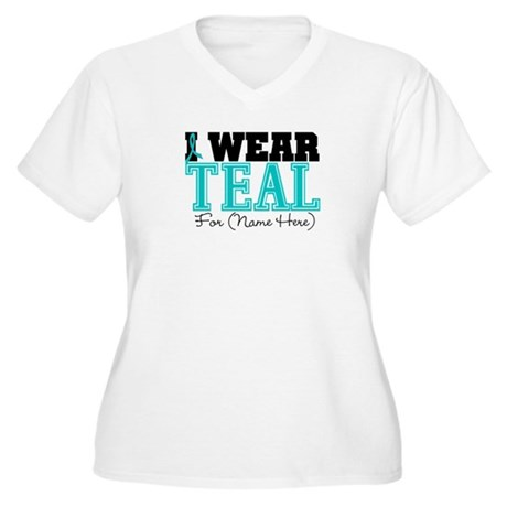 Custom Teal Ovarian Cancer Women's Plus Size V-Nec