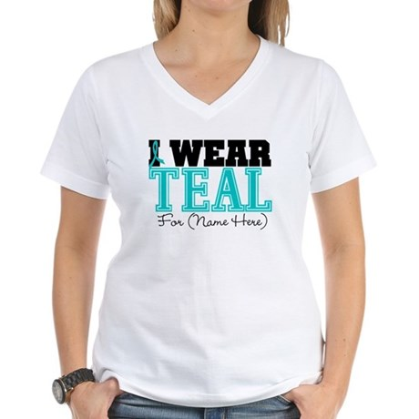 Custom Teal Ovarian Cancer Women's V-Neck T-Shirt