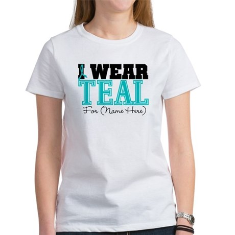 Custom Teal Ovarian Cancer Women's T-Shirt