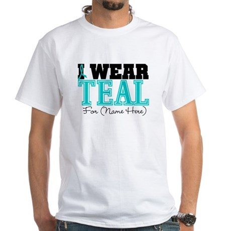 Custom Teal Ovarian Cancer White T-Shirt