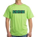 LOVE Silk Tapestry Skyblue Green T-Shirt