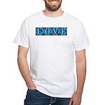 LOVE Silk Tapestry Skyblue White T-Shirt